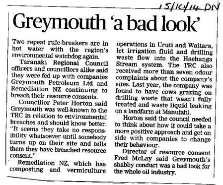 Greymouth 'a bad look' TDN 15 10 14 Remediation NZ landfarm