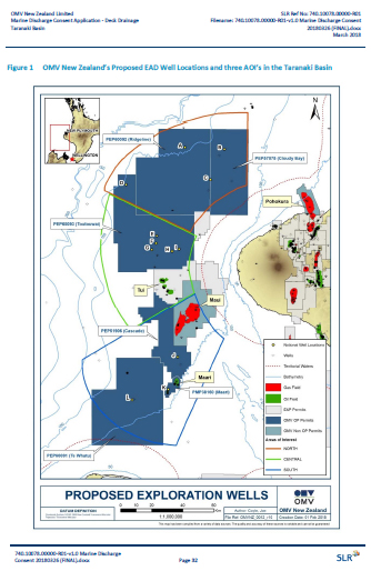 OMV drilling map in discharge consent IA 2018
